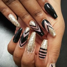 Nail art Nail designs Black and gold nails