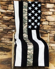 """American Flag - US ARMY The Thin Line Throw/ Blanket This quilt will make a great gift for Active, Reserve, Retired, ARMY!  Amazingly soft and great representation of the Army patch commonly worn. Represent the brotherhood, friends, and family with this awesome U.S. ArmyThin Line Quilt. -Made to order. -Embroidered name optional -Measures 70""""x50. -100% cotton; best quality available. -40+ piece Quilt. -All variations are made of black and light grey cotton. -Star field are screen printed..."""