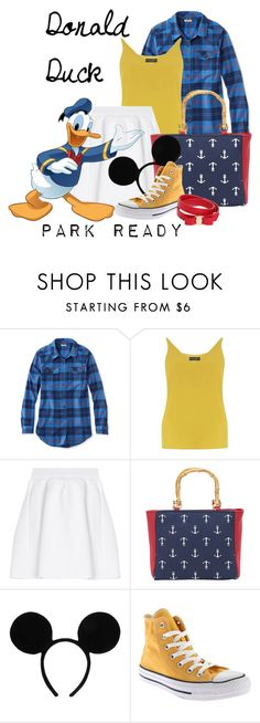"""Donald Duck: Park Ready"" by laniocracy ❤ liked on Polyvore featuring L.L.Bean, Dorothy Perkins, malo, Magid, Disney, Converse, Salvatore Ferragamo and disneyland"