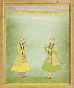 A DOUBLE PORTRAIT OF MUGHAL NOBLES MUGHAL SCHOOL AT KISHANGHAR, NORTHERN INDIA, EARLY 18TH CENTURY