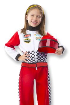 Race Car Driver Role Play Costume Set : Kids will be off to the races with this realistic role play set! The high-quality costume includes a sturdy helmet with adjustable face mask and zip-up jumpsuit complete with colorful racing emblems. A soft steering wheel features enough printed details like knobs and dials to satisfy any racing fan. This is one role play set thats sure to drive straight into the winners circle!