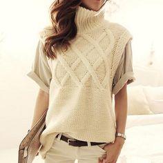 Turtleneck sleeveless sweater Vest |                             Turtleneck sleeveless sweater VestTechnics: Flat KnittedCollar: Turtlene | Primary View | Sassy Posh