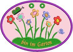 Stickdatei Stickmuster Türschild bin im Garten von lollikids auf DaWanda.com