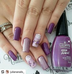 What Christmas manicure to choose for a festive mood - My Nails Best Nail Art Designs, Beautiful Nail Designs, Summer Nails 2018, Fast Nail, Purple Nail Art, Cute Nail Art, Hot Nails, Fabulous Nails, Nail Manicure