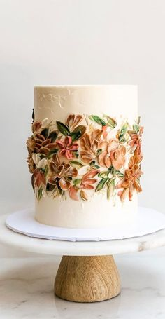 Fall Birthday Cakes, Pretty Birthday Cakes, Pretty Cakes, Cute Cakes, Beautiful Cakes, Amazing Cakes, Bolo Floral, Floral Cake, Cake Decorating Techniques