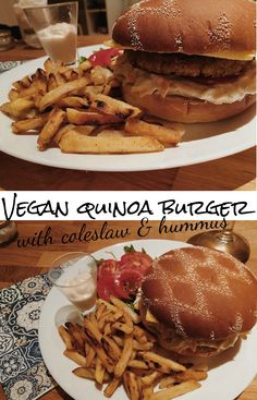 Super yummy all vegan quinoa burger with coleslaw, hummus, tomatoes and cheese :)
