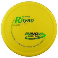 "R Pro Rhyno 170-175g by Innova. $9.95. The Rhyno is an overstable putt and approach disc that can handle headwinds. Great for players with lots of throwing power as the Rhyno stops on a dime and stays close to the basket. It is a must have disc for short to medium up shots and putting into the wind. The Pro line model is also called a ""Soft"" Rhyno and is made to be super soft and flexible in an extra grippy plastic that grabs the chains.  Please contact us by email for m..."