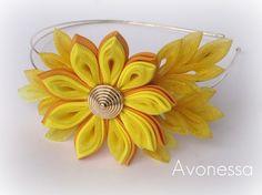 Solar motive  kanzashi flower headband by Avonessa on Etsy, $18.00