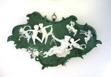 Large Antique Volkstedt Jasperware Plaque with Beautiful Semi-nude and 6 Angels or Putti - Very, very 3-D