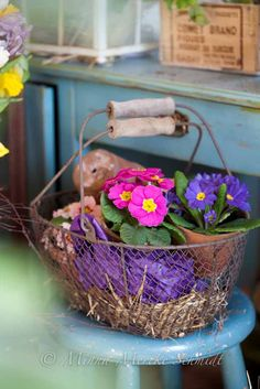 flowers in wire basket with wooden handles