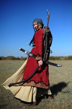 A Kazakh woman in the costume of a female warrior