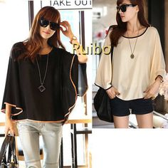 2013 Fashion Contrast Color Trims Plus Size Chiffon Blouses Batwing Sleeve Tunics Tops for Women Sexy Shirt Cape Black/Apricot
