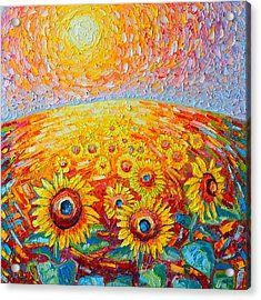 Fields Of Gold - Abstract Landscape With Sunflowers In Sunrise Acrylic Print by Ana Maria Edulescu