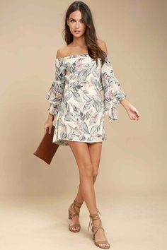Relax in the hammock in the Sun-Drenched Daydream Beige Floral Print Off-the-Shoulder Dress! Lightweight woven rayon in a grey, blush pink, and coral orange floral print falls from an elasticized, off-the-shoulder neckline into ruffled, three-quarter sleeves and a shift silhouette. Elasticized back cutout and ruffled flounce.