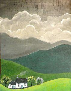 Gwanwyn by Valériane Leblond Landscape Art Quilts, Landscape Paintings, Illustrations, Illustration Art, Guache, Naive Art, Textile Art, Watercolor Art, Folk Art