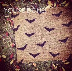 Bat-Stenciled Doormat