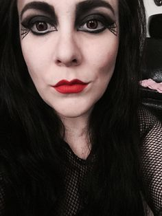 Morgana graves (abigail von doll) #morticiaaddams #gothchick #gothmakeup #gothmua #morganagraves #kvd #kvdbeauty #goth #gothgoth #beauty #lace #redlips #smokeyeyes # lenses #blackhair #cutegoth #gothlady #palebeauty