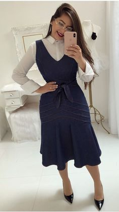 my favorite office and beauty clothes: Foto Modest Dresses, Modest Outfits, Classy Outfits, Modest Fashion, Dress Outfits, Casual Outfits, Fashion Dresses, Cute Outfits, Trend Fashion
