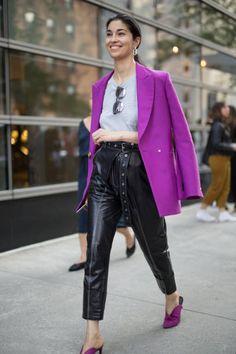 Caroline Issa is seen attending Oscar de la Renta during New York Fashion Week wearing a purple blazer with black pants on September 11 2017 in New...