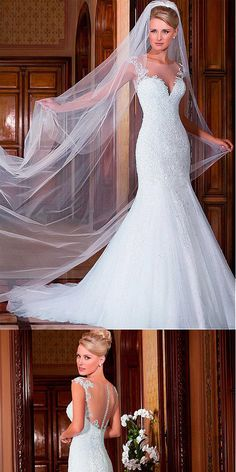 Brilliant Tulle Mermaid Lace Appliques Wedding Dresses With Beadings,WDY0174#wedding dress#