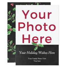Personalized Customized DIY Photo Watercolor Holly Card - invitations custom unique diy personalize occasions