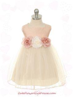 944b054efc BABY - Dusty Rose Silk Bodice with Tulle Skirt Baby Girl Dress - Flower  Girl Dresses