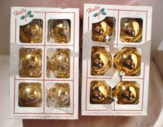 """Vintage Holly Decorations Glass Christmas Ornaments Gold Lot of 2 Boxes 2 5/8"""""""