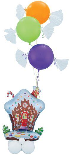 This wonderful design combines our Gingerbread House foil with Quartz Purple, Lime Green and orange Bubble Balloons #balloon #balloondecor #balloonart #qualatex #decoration #christmas #winterholidays #winterwonderland
