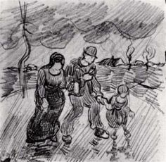Vincent Van Gogh - Casal Caminhando de Braços Dados com Criança na Chuva (Auvers-sur-oise, France) – 1890