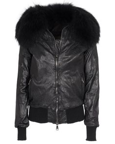 GIORGIO BRATO Pelle Vintage Nero // Leather jacket with fur collar