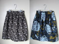 Reversible skirt.  Would be super easy to make and a must when packing light.  Plus the second pattern becomes a built-in lining.