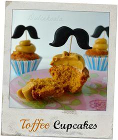 Dulcekoala Galletas Decoradas... y otros dulces...: CUPCAKES DE TOFFEE CON MOSTACHOS