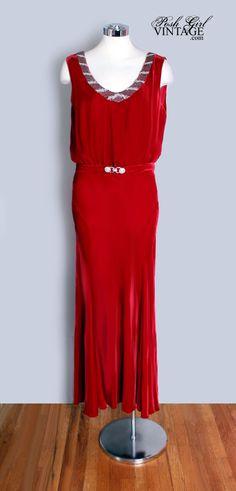 1930's Art Deco Long Red Evening Dress - M