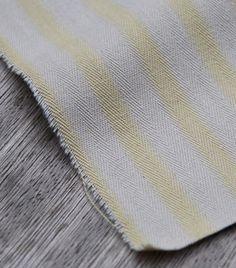 Lemon and Ecru Wide Stripe Ticking Detail