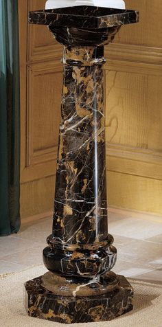 Luxury Solid Marble Column Pedestal Jardiniere Plant Stand