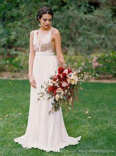 Pas cher Rose Or À Paillettes Longues Robes de mariée Pas Cher Parole Longueur…
