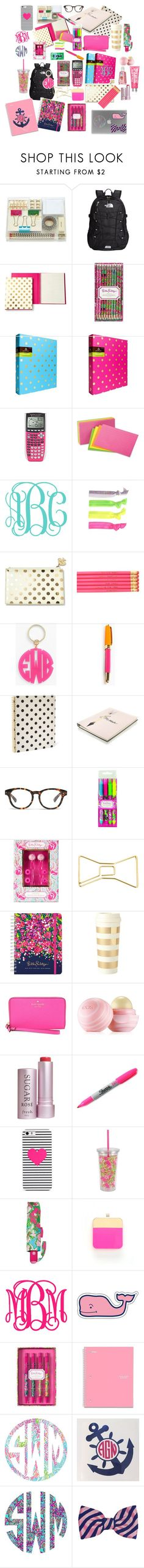 """Back to School Supplies Contest"" by lizguck ❤ liked on Polyvore featuring Amara, The North Face, Kate Spade, Lilly Pulitzer, Glam Bands, Moon and Lola, Madewell, Pink Vanilla, Eos and Fresh"