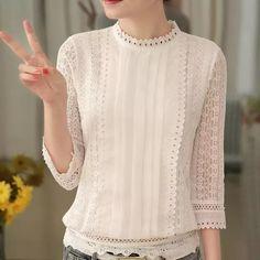 Blouses for women – Lady Dress Designs White Shirts Women, Blouses For Women, Hijab Stile, Plus Size Women's Tops, Fancy Tops, White Lace Blouse, Cute Blouses, Mode Hijab, Blouse Designs