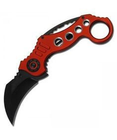 "Spring Assisted Red Karambit Tactical Folder Assisted Open Pocket Knife by Anyblades.com. $4.95. This is a Grey assisted open Karambit Tactical Folder Knife 440 Stainless Steel blade includes pocket/boot clip. 5.35"" Closed 2.60"" blade."