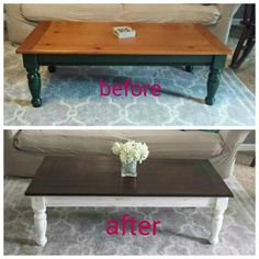 Relooking de la table basse Photo – So we have had a round glass coffee table in our living room for the last 5 years I bought it with some other things when we were stationed in Hawaii. Since my husband was in Afghanistan I dreaded trying to find furnit Refurbished Coffee Tables, Coffee Table Refinish, Coffee Table Makeover, Painted Coffee Tables, Diy Coffee Table, Refurbished Furniture, Find Furniture, Furniture Projects, Furniture Makeover