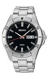 Seiko Black Dial Stainless Steel Mens Watch SGGA75 Seiko. $72.95. Stainless Steel Case and Bracelet, Push Button Release Clasp. Case Size: 41mm Diameter, 8.5mm Thickness. Precise Japan Quartz Movement. Water Resistant - 30M. Hardlex Mineral Crystal, Day/Date Display, Lumbrite Hands with Silver Tone Markers
