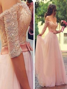 Long Custom Prom Dress,Pink Half Sleeve prom dress,