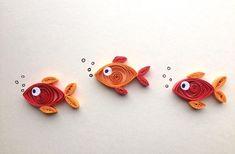 Quilled Karte Orange-rote Goldfische Fisch auf Creme quilled