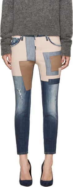 Cropped skinny-fit jeans in blue. Distressing throughout. Six-pocket styling. Textile and leather patches in tones of blush and taupe and front and back. Logo piece at back pocket. Tonal stitching. Logo flag at button-fly.