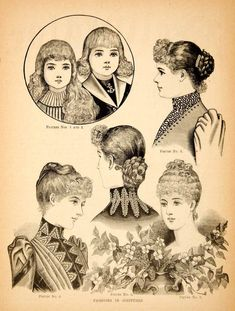 1890 Wood Engraving Victorian Women Fashion Clothing Hair Style Coiffures Child - Original In-Text Wood Engraving