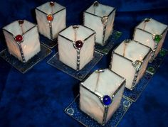 Stained Glass Candle Holder with Glass Gem by DianeMarieArt, $15.00