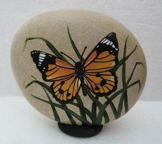Hand Painted Rock Art Paintings Butterfly Martha Winenger | eBay