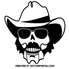 Skull with glasses and hat vector image.