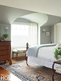 The soothing palette of this master bedroom mirrors the seascape colors outside. Architecture by George Penniman, George Penniman Architects, interior design by Nancy Taylor, Taylor Interior Design, photography by Tria Giovan Ocean Breezy Master Bedroom Interior, Home Bedroom, Modern Bedroom, Bedroom Furniture, Bedroom Mirrors, Bedroom Suites, Bedroom Ideas, Cottage Bedrooms, Antique Furniture