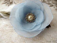 Wedding Hair Flower  Powder Blue Chiffon Hair by RainwaterStudios, $15.00